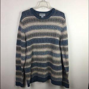 Eddie Bauer fair isle  lambswool sweater Tall L